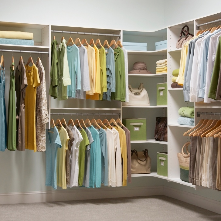 Remarkable Modern White Wooden Floating Clothes Organizer With Corner Open F Floating Closet System Pics