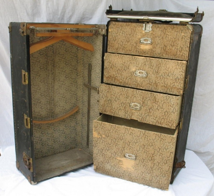 Remarkable On Hold Please Do Not Purchase-----------------Antique Steamer Trunk Reproduction Steamer Wardrobe Trunk Pics