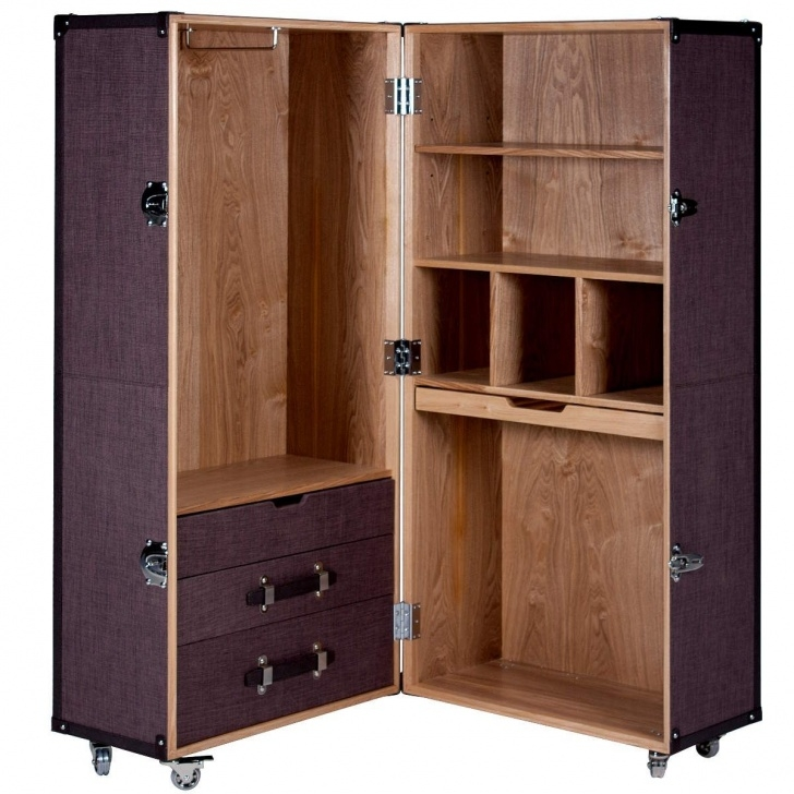 Splendid Hemingway Trunk Style Portable Wardrobe Wheeled Luggage | Fix, Make Wardrobe Wooden Portable Image
