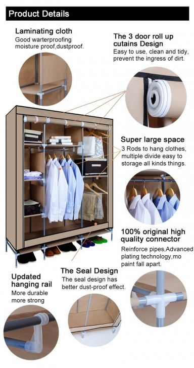 Splendid Non-Woven Fabric Wardrobe Closet For Clothes Storage Portable Sturdy Triple Modular Metal Framed Fabric Wardrobe Jute Effect Picture