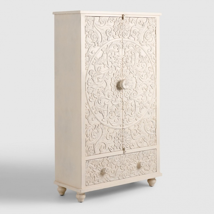 Splendid White Carved Wood Floral Armoire By World Market In 2019   Products White Carved Wardrobe Closet Pics