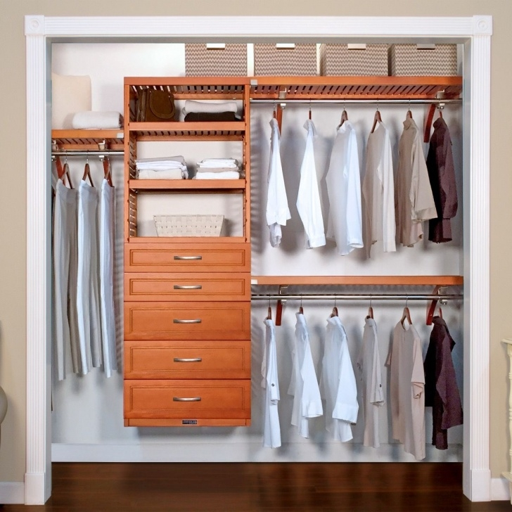 Stunning 16In. Deep Woodcrest Deluxe Closet Organizer With 5 Drawers Closet Organizers With Drawers Image