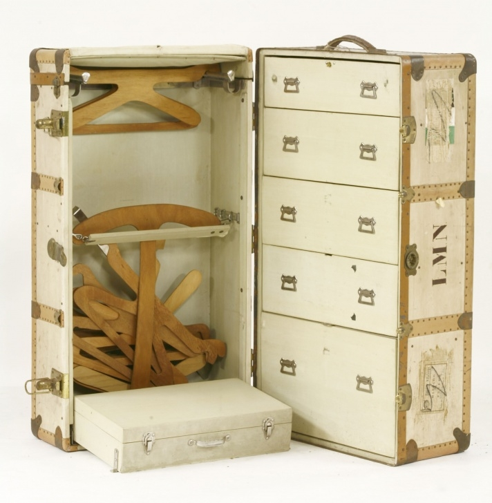 Stunning A Wardrobe Steamer Trunk, Upright Drawers And A Case, In Cream With Steamer Trunk Wardrobe Ideas Picture