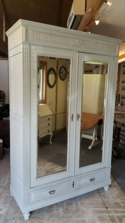 Stunning Fabulous Painted Antique French Wardrobe Armoire Cupboard With Mirror Wardrobe Armoire Photo
