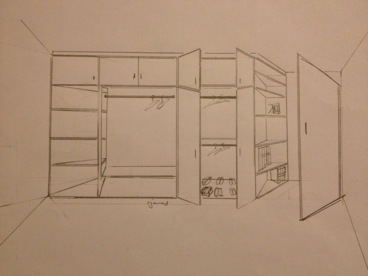 Stunning Sketch Design Drawing For Built In Fitted Wardrobe | To Fit Diagonal Sketch Of Built In Wardrobe Photo