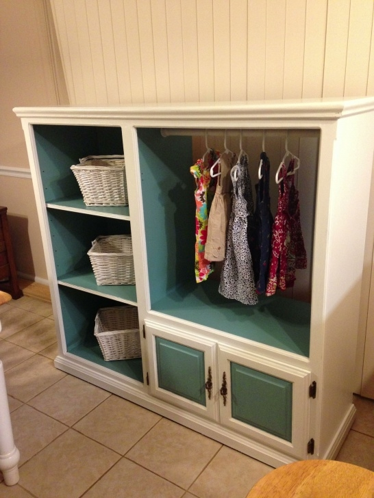 Stylish Entertainment Center Made Into A Kids Closet | Baby Inspiration Kids Wardrobe Closet Pinterest Pics